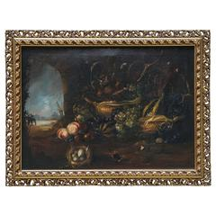 Italian old  Still Life Painting oil on canvas in Flemish Style