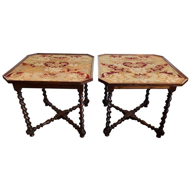 Pair of 19th Century French Needlepoint Top Tables