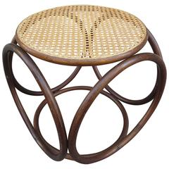 Thonet Bentwood and Caned Ottoman or Stool