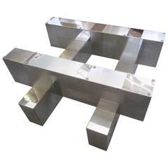 Paul Evans Signed Cityscape Coffee Table for Directional