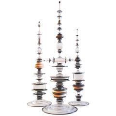 Contemporary Reliquary Group Glass Sculpture