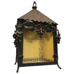 Unique Art Nouveau Wrougt Iron Pendant Light Porch Lantern by Alberic Plettinck