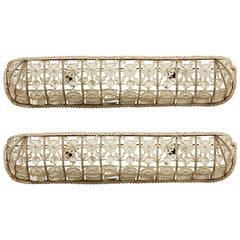 Pair of Italian Art Deco Hand Beaded Glass and Crystal Wall Sconces