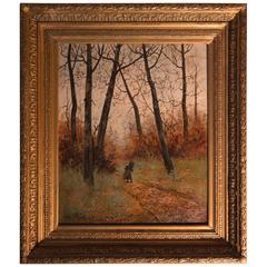 Barbizon School Autumn Fontainebleau Landscape Signed by Leon Richet, circa 1880