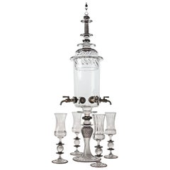 Contemporary Absinthe Fountain with Black Details and Four Spigots Glass Set