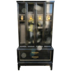 Stunning Chinoiserie Style Lacquered Tall Dresser Cabinet Mid-Century Modern