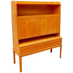 Swedish Art Moderne Dry Bar or Desk in Golden Flame Birch, circa 1940