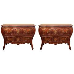 Pair of French Provincial Hand-Carved Chests