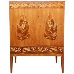 Swedish Mid-Century Cabinet with Flora and Fauna Motifs by Reiners Mobler