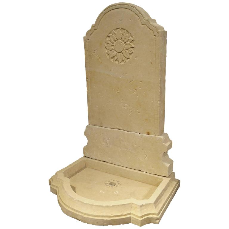 Small Carved Limestone Wall Fountain from Italy For Sale