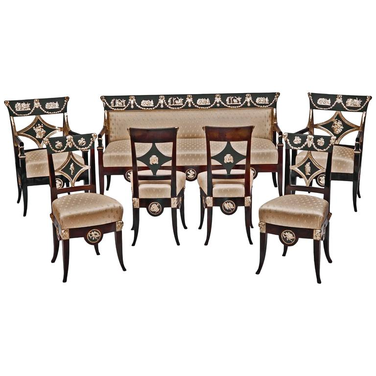 Danhauser Vienna Biedermeier Parlor Set Four Chairs Two Armchairs Settee  1815 For Sale
