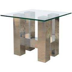 Brushed Aluminum Cityscape Side Table in the Style of Paul Evans