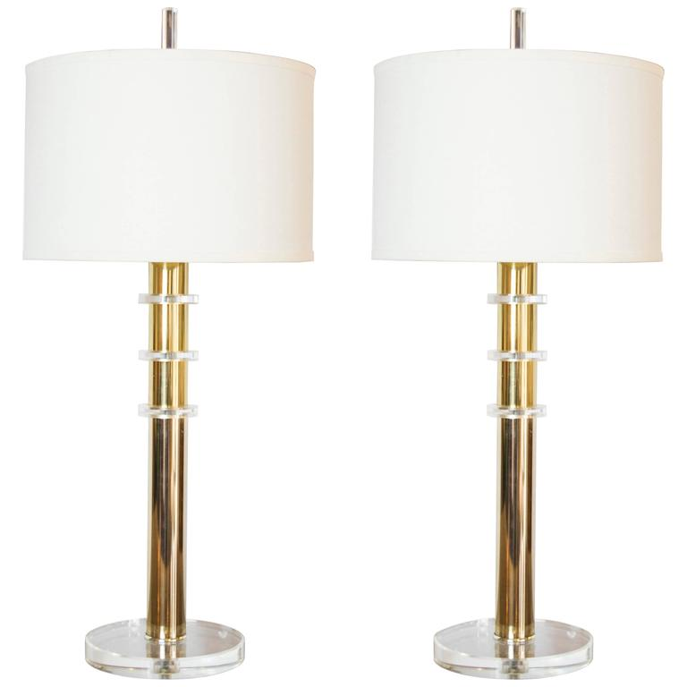Mid-Century Modern Lucite and Brass Table Lamps in the Style of Karl Springer