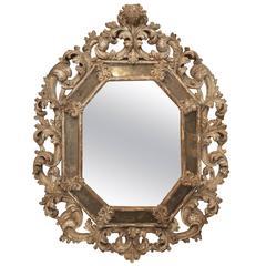 Early 18th Century, Italian Foliate Carved Mirror
