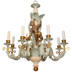 Italian Foliate Chandelier Carved with Whimsical Monkey