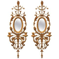 Pair of Italian Gilded Iron and Wood Foliate Sconces with Mirror Backplate