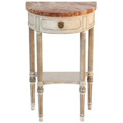 Petite Demilune Console with Marble Top, circa 1920s