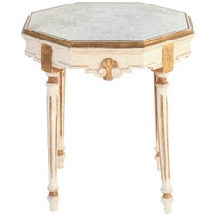 Painted and Parcel-Gilt Italian Accent Table with Octagonal Mirrored Top