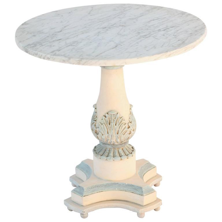 Italian Pedestal Side Table with Carrara Top