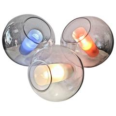 "One-of-a-kind ""Cylindre Orbe"" Lamps Set of Three Glass Cylinders, Glass Spheres"