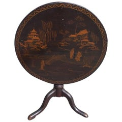 American Black Lacquer Japanned Figural Tilt-Top Table, Circa 1770