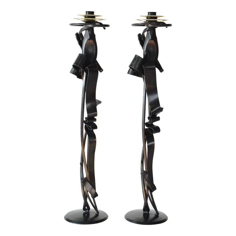 Contemporary Scepter Candleholder (pair) in Blackened Steel    For Sale