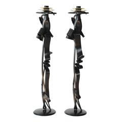 Contemporary Scepter Candleholder (pair) in Blackened Steel