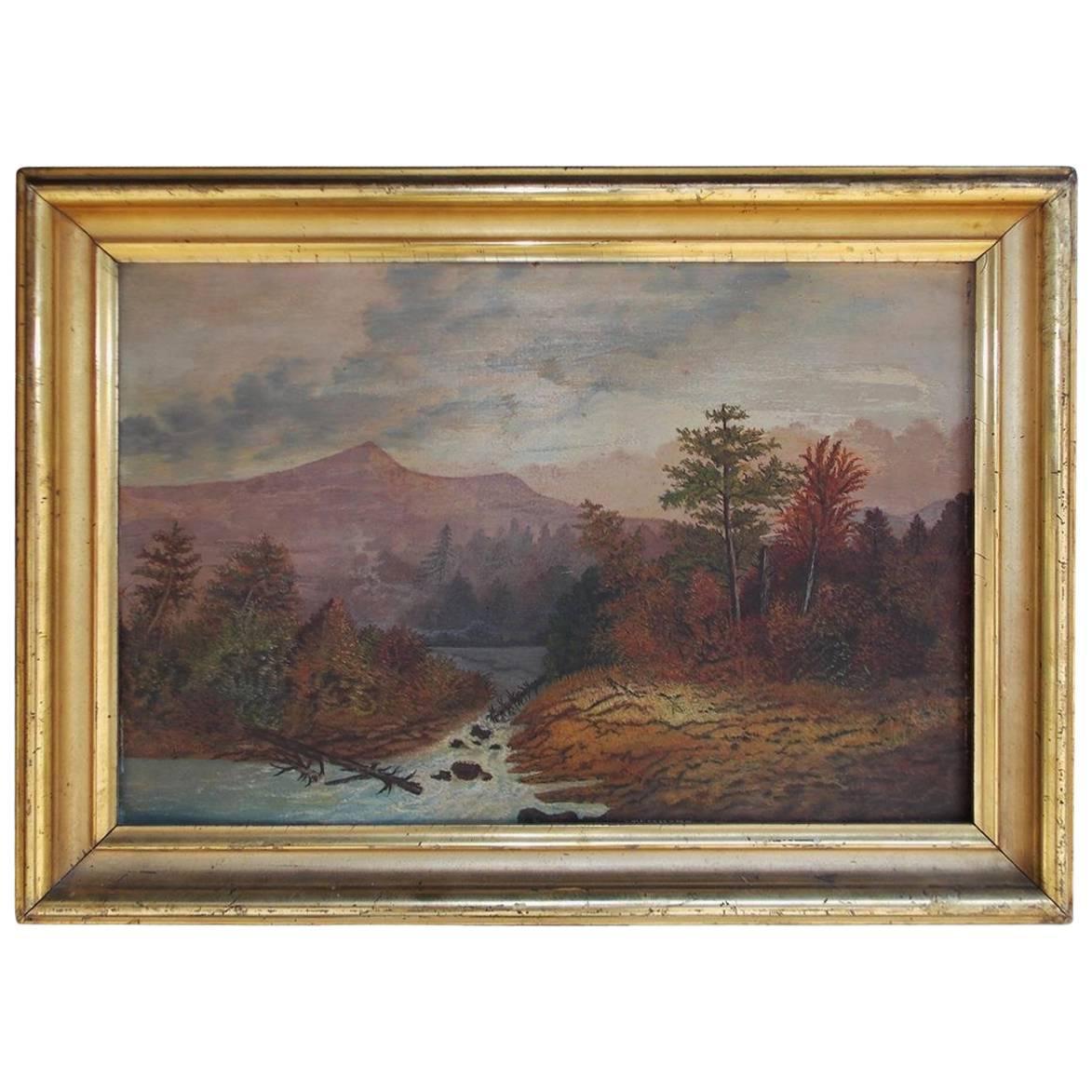 American Oil Framed Landscape on Academy Board, Hudson Valley, Circa 1820