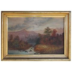American Oil Framed Landscape on Academy Board, Hudson Valley, Circa 1820