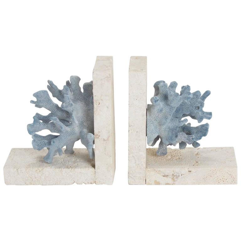 Authentic Blue Coral on Coquina Stone Bookends