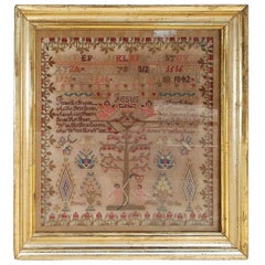 American Needlepoint Gilt Framed Sampler, Tree of Knowledge, Circa 1842