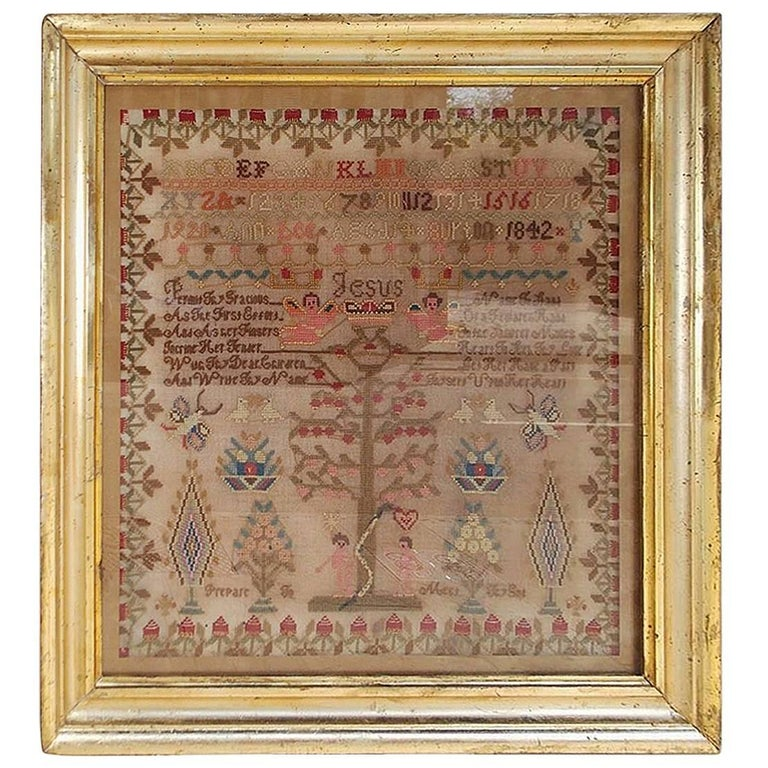 American Needlepoint Gilt Framed Sampler, Tree of Knowledge, Circa 1842 For Sale