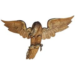 American Gilt Carved Wood and Gesso Spread Winged Eagle, Circa 1820