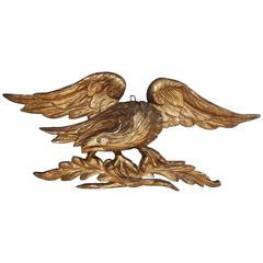 American Gilt Carved Wood and Gesso Perched Eagle, Circa 1830