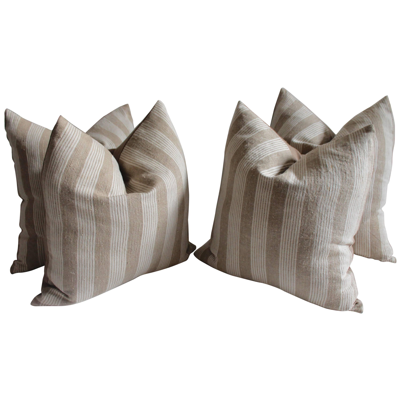 19th Century Homespun Striped  Linen Pillows, Pair