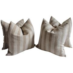 19th Century Homespun Striped  Linen Pillows, Pair