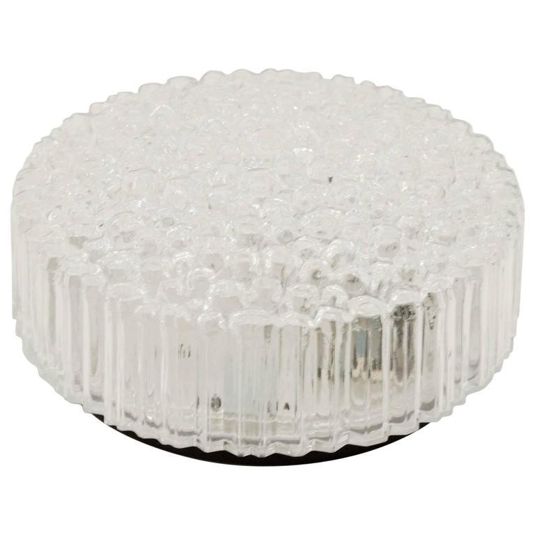 Limburg Ribbed Round Bubble Glass Flush Mount For Sale