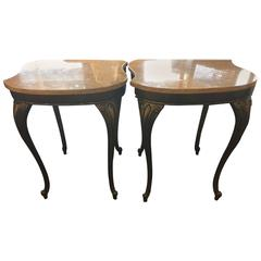 Pair of Marble and Iron Side Tables in the Style of Edgar Brandt