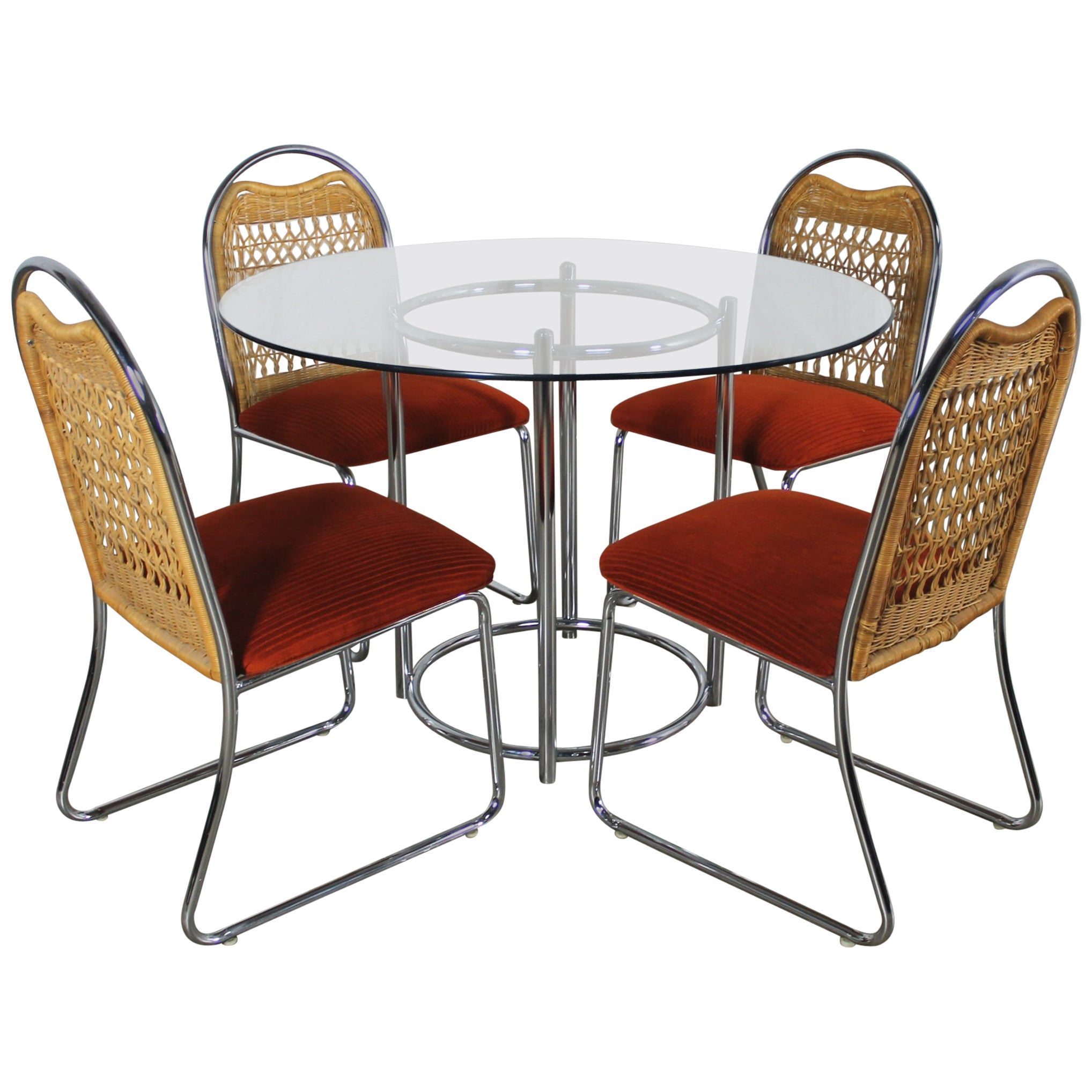 Mid-Century Daystrom Round Glass Chrome Dinette Table and Four Wicker Chairs