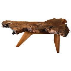 Mira Nakashima Free Form Coffee Table with Burlwood Top