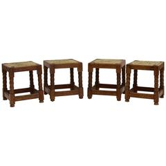 Pair of English Arts & Crafts Rush Small Stools