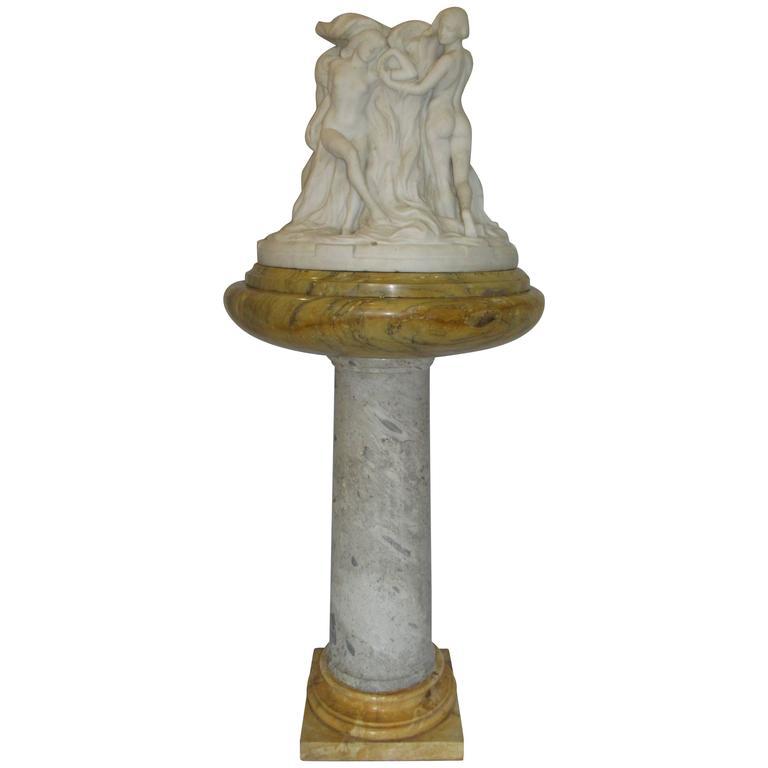 Pietro Piraino Italian Marble Carving on Pedestal, Art Deco