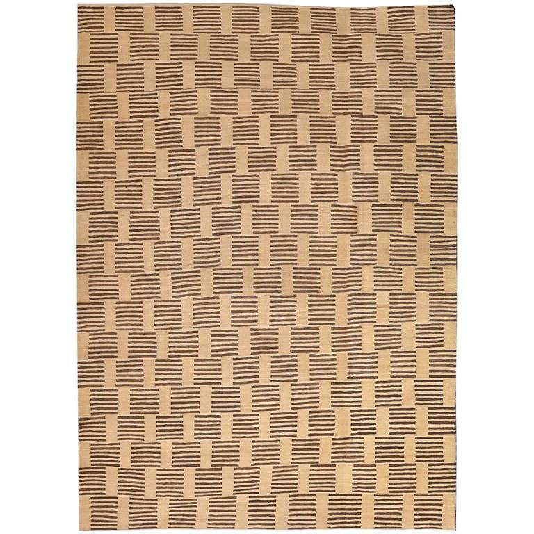 Orley shabahang wood blocks persian flat weave carpet in handspun wool