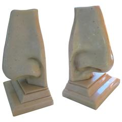 Unusual Pair of Italian Mid-Century Modern Oversized Nose Bookends
