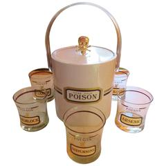 Fun Set of Six Name Your Poison Rocks Glasses Ice Bucket, Mid-Century Modern