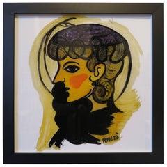 "Gio Ponti Painting ""Donna Con Cappellino"""