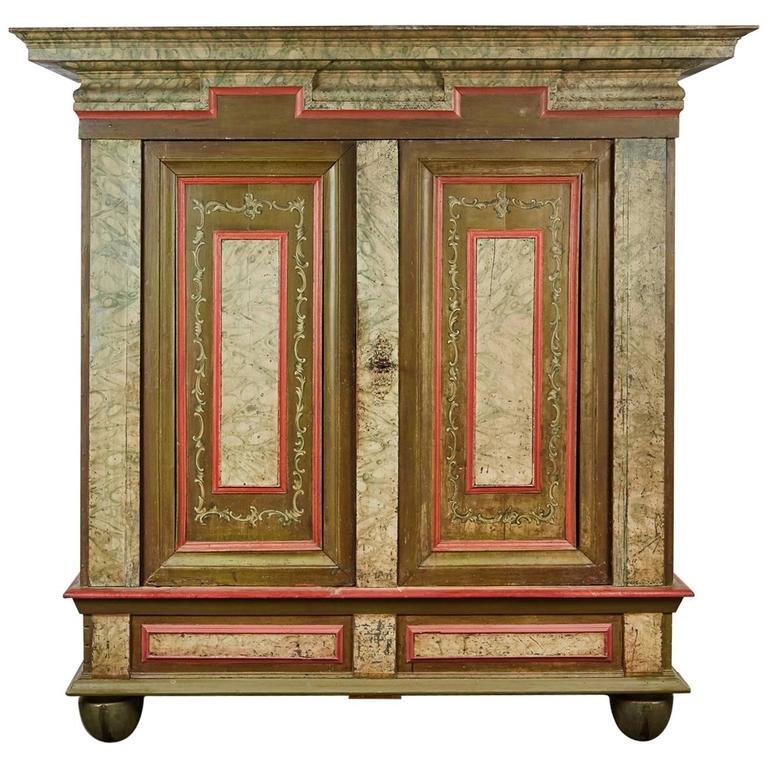 18th Century Danish Baroque Two-Door Cabinet For Sale At