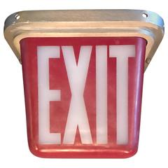 Mid-Century Flush Mount Double-Sided Exit Sign Light