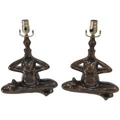 """Yogi"" Seated Frog Lamps"