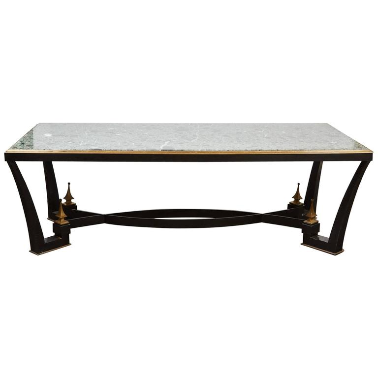 1960s Mexican Modern Iron Dining Table with a Green Marble Top by Arturo Pani